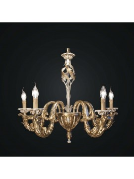 Classic chandelier in gold and ivory leaf wood 5 lights BGA 1810-5