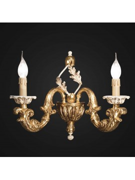 Classic wall lamp in gold and ivory leaf wood 2 BGA lights 1810-a2