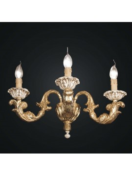 Classic wall lamp in gold and ivory leaf wood 3 lights BGA 1810-a3