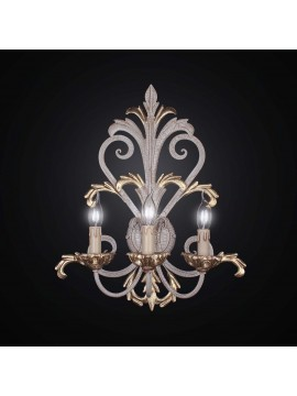Classic wall lamp in wood and wrought iron crackle with 3 lights BGA 1984-a3