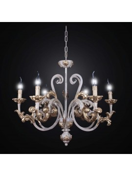Classic chandelier in wood and wrought iron crackle with 6 lights BGA 1984-6