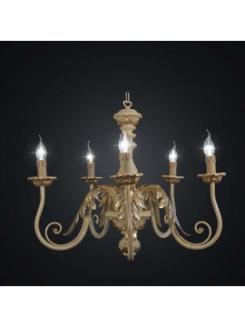 Classic chandelier in gold and ivory leaf wood with 5 BGA lights 2043-5