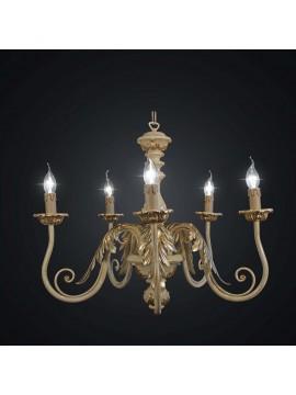 Lampadario classico in legno foglia oro e avorio a 5 luci BGA 2043-5