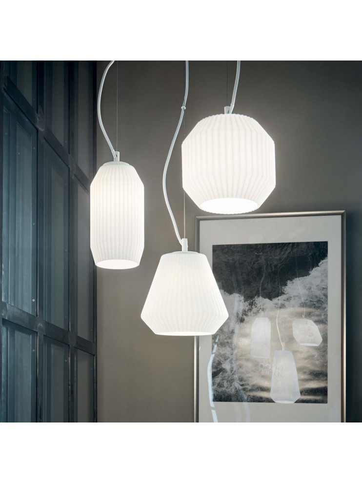 Modern white glass chandelier with 3 ideal-lux design lights Origami sp3