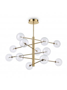 Classic chandelier 12 lights minimal ideal-lux Equinoxe sp12 antique brass