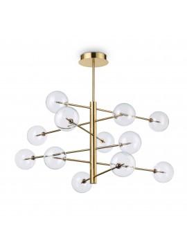 Lampadario classico 12 luci design minimal ideal-lux Equinoxe sp12 ottone antico