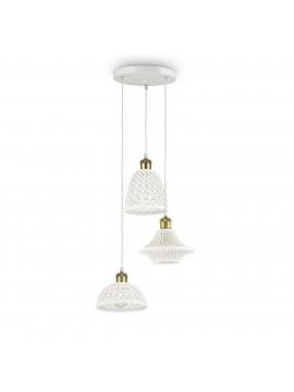 Lampadario vintage rustico ceramica bianca 3 luci ideal-lux Lugano sp3