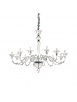 Lampadario in cristallo contemporaneo 12 luci ideal-lux Brigitta sp12 trasparente