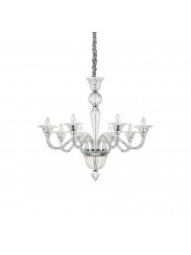 Lampadario in cristallo contemporaneo 8 luci ideal-lux Brigitta sp8 trasparente