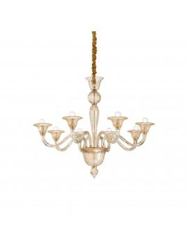 Classic crystal chandelier 8 ideal-lux lights Brigitta sp8 amber