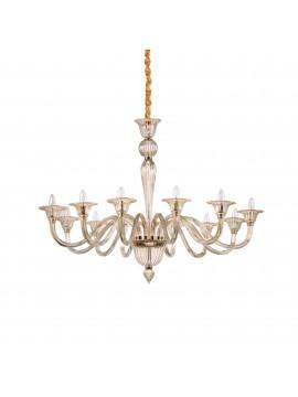 Lampadario in cristallo classico 12 luci ideal-lux Brigitta sp12 ambra
