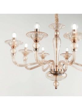 Lampadario classico in vetro soffiato 8 luci ideal-lux Danieli sp8 ambra