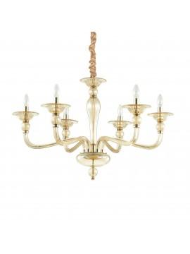 Lampadario classico in vetro soffiato 6 luci ideal-lux Danieli sp6 ambra