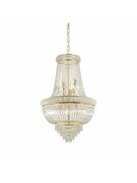 Classic gold chandelier with 10 ideal-lux crystal lights Dubai sp10 brass