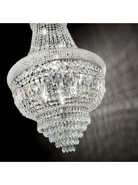 Classic chandelier with crystals 10 lights ideal-lux Dubai sp10 chrome