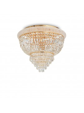 Classic gold ceiling light with 6 lights ideal-lux crystals Dubai pl6 brass