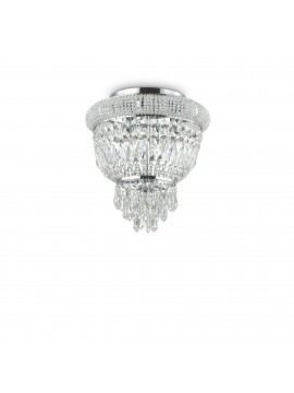 Classic ceiling light with 3 lights ideal-lux crystals Dubai pl3 chrome