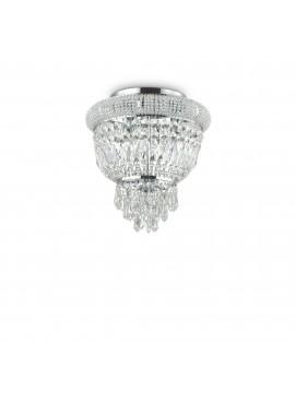 Plafoniera classica con cristalli a 3 luci ideal-lux Dubai pl3 cromo