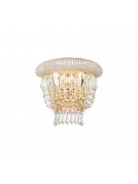 Classic gold wall light with crystals 2 lights ideal-lux Dubai ap2 brass
