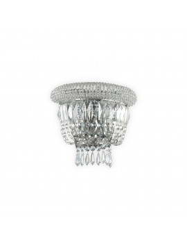 Classic wall light with crystals 2 lights ideal-lux Dubai ap2 chrome