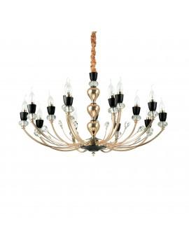 Lampadario classico oro con cristalli 15 luci ideal-lux Vanity sp15