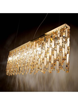 Contemporary gold chandelier with 8 ideal-lux crystal lights Elisir sp8 brass