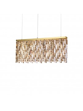 Contemporary gold chandelier with 6 ideal-lux crystal lights Elisir sp6 brass