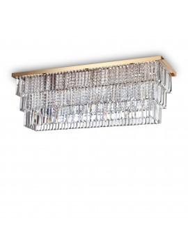 Plafoniera contemporanea con cristalli 8 luci ideal-lux Martinez pl8 oro