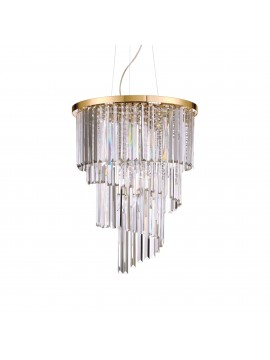 Contemporary chandelier with crystals 12 lights ideal-lux Carlton sp12 gold