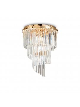Plafoniera contemporanea con cristalli 12 luci ideal-lux Carlton pl12 oro