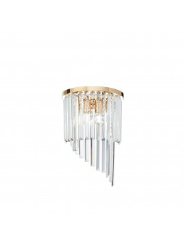 Contemporary wall lamp with crystals 3 lights ideal-lux Carlton ap3 gold