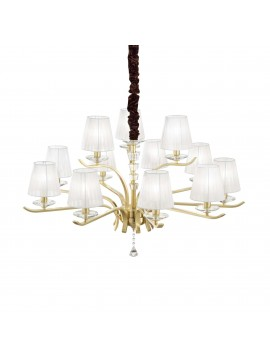 contemporary gold chandelier 12 lights ideal-lux Pegaso sp12 Satin Brass
