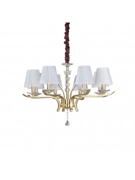 contemporary gold chandelier 8 lights ideal-lux Pegaso sp8 Satin Brass