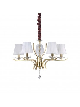 Lampadario contemporaneo oro 5 luci ideal-lux Pegaso sp5 ottone satinato