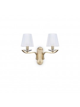 Gold contemporary 2 lights ideal wall lamp Pegaso ap2 satin brass