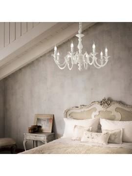 Lampadario classico bianco a 8 luci ideal-lux Justine sp8