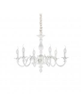 Lampadario classico bianco a 6 luci ideal-lux Justine sp6