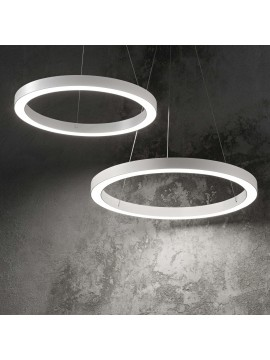 Lampadario a led moderno circolare 40w ideal-lux Oracle sp1 d.70cm bianco