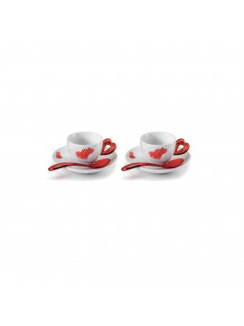 Set 2 coffee cups with saucer guzzini love 11410065 red