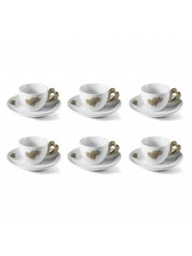 Set 6 coffee cups with saucer guzzini love 11410139 sand