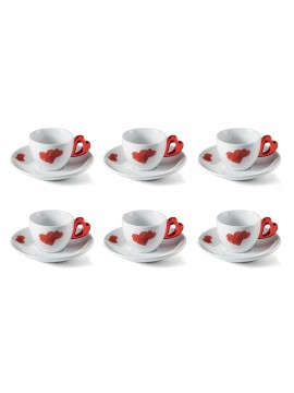 Set 6 coffee cups with saucer guzzini love 11410165 red