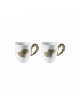 Set 2 cups mug guzzini love 11420039 sand