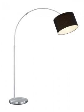 Curved floor lamp in black fabric 1 light trio 461100102 Hotel