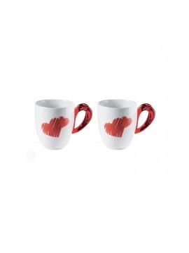 Set 2 cups mug guzzini love 11420065 red