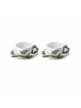 Set 2 cappuccino cups with saucer guzzini love 11440039 sand