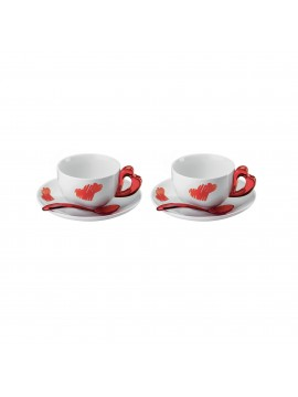 Set 2 cappuccino cups with saucer guzzini love 11440065 red