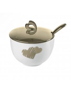 Sugar bowl with teaspoon guzzini love 11470039 sand