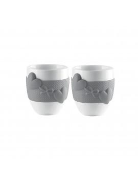 Set 2 coffee cups guzzini love 11490033 gray