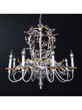 Classic chandelier in wrought iron and crystal 8 lights BGA 3045-8