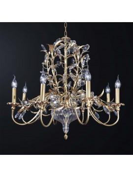 Lampadario classico foglia oro e cristallo 8 luci BGA 3045-8
